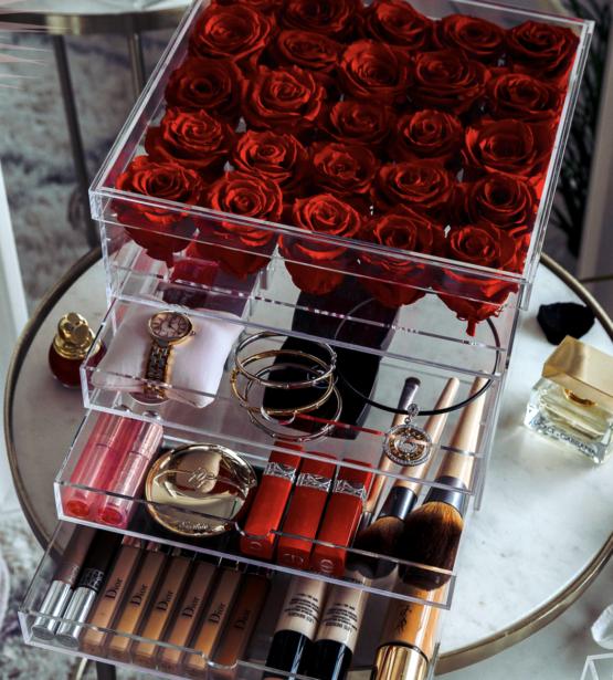 Roses eternelles 25 roses avec tiroir